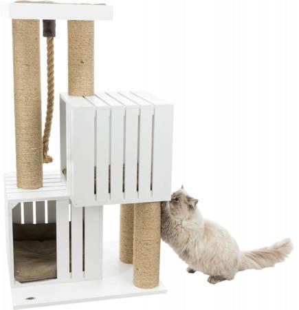 Biały drapak dla kota z drewnianymi budkami, platformą widokową i grubym sznurem Be Nordic stojący Skadi 114cm