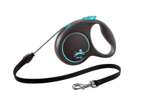 Flexi Black Design Smycz automatyczna Linka Medium 5m czarno-niebieska