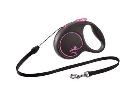 Flexi Black Design Smycz automatyczna Linka Small 5m czarno-różowa