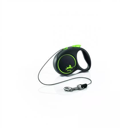 Flexi Black Design Smycz automatyczna Linka XS 3m czarno-zielona