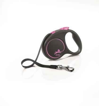 Flexi Black Design Smycz automatyczna Taśma Small 5m czarno-różowa