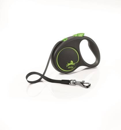 Flexi Black Design Smycz automatyczna Taśma Small 5m czarno-zielona
