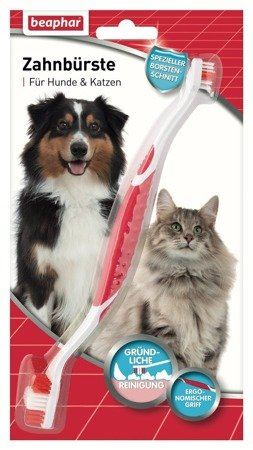 Szczoteczka dwugłowicowa do zębów dla psów i kotów wszystkich ras Beaphar Zahnburste