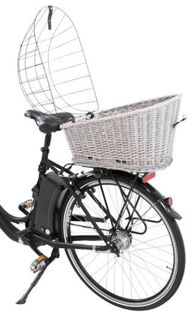 Wiklinowy kosz na bagażnik rowerowy szary